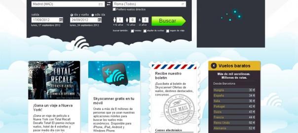 Página web de Skyscanner en español