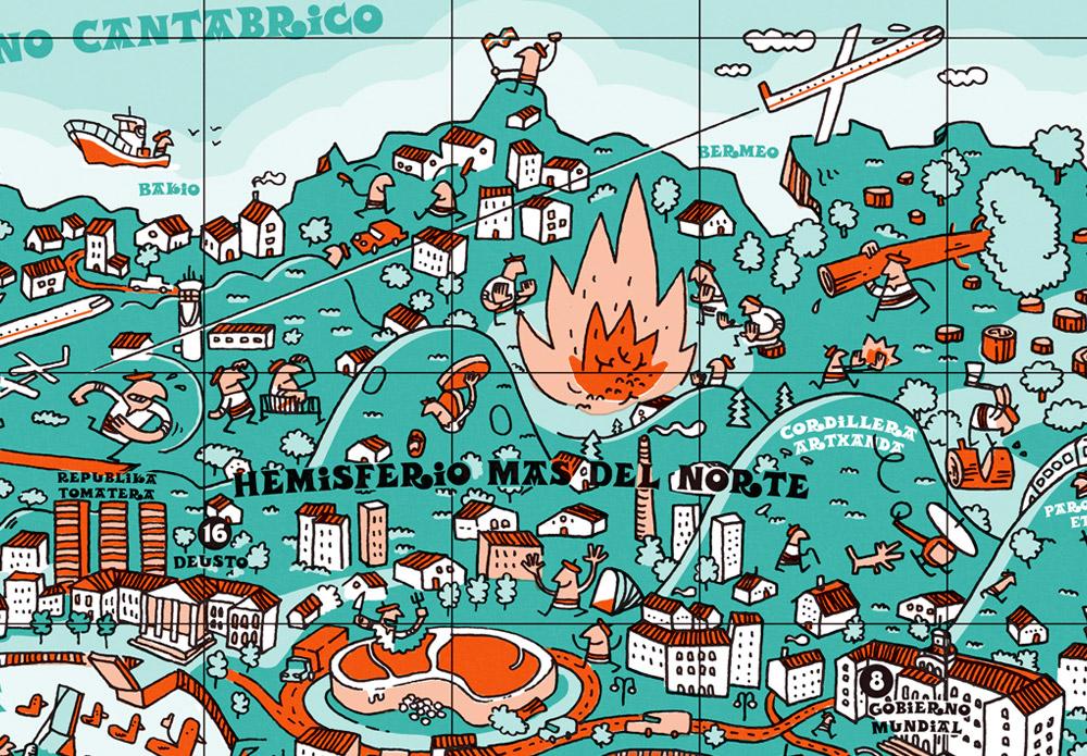 Detalle del Mapamundi de Bilbao - Iván Bravo