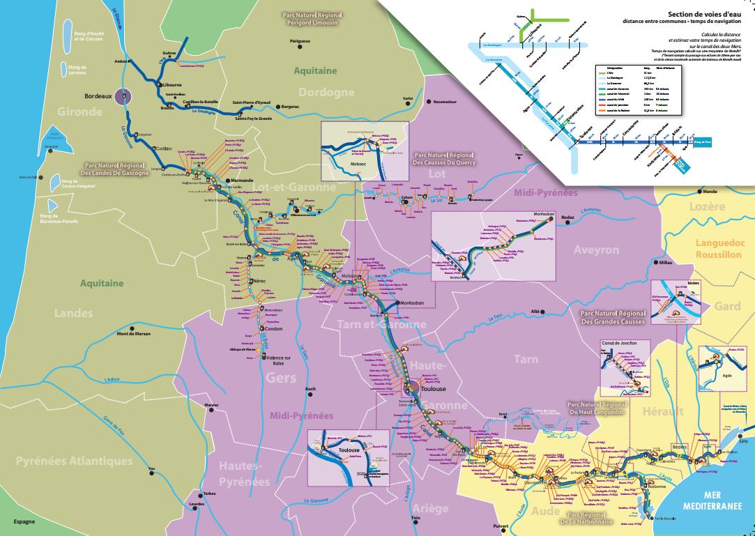 Mapa de navegación del Canal du Midi