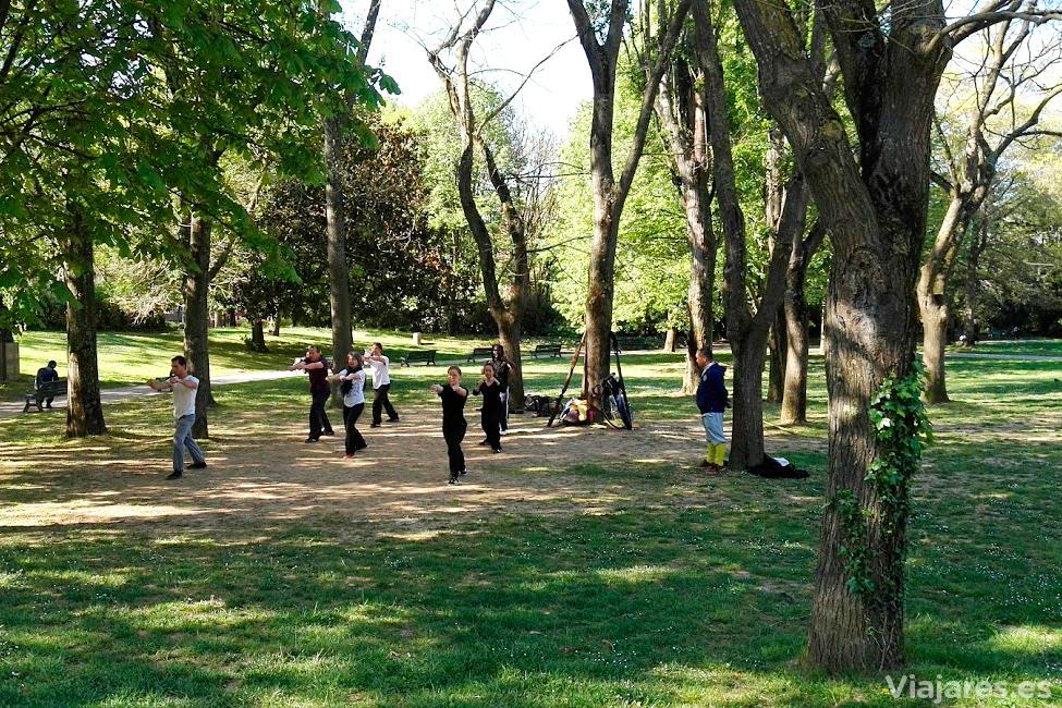 Practicando artes marciales en el parque