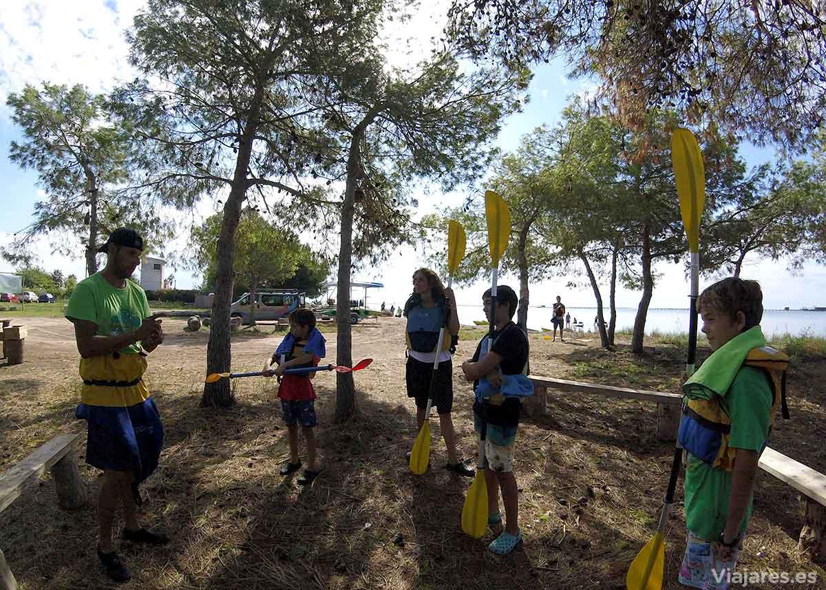 Indicaciones para navegar en kayak