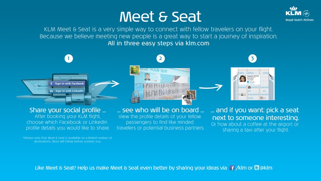 KLM social flight seating Meet & Seat