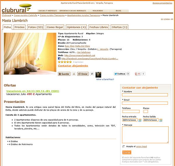 Ficha de un alojamiento en Clubrural