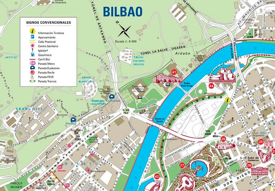 Mapa De Bilbao España.Mapa Creativo De La Ciudad De Bilbao Viajares