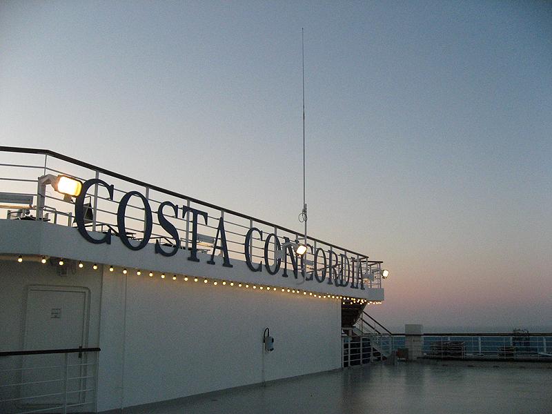 Cubierta del Costa Concordia
